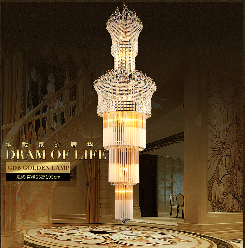 Newly Big Crystal Chandelier LED Candle Holder Lamps Modern Long Large Chandeliers Villa Living Room Hanging