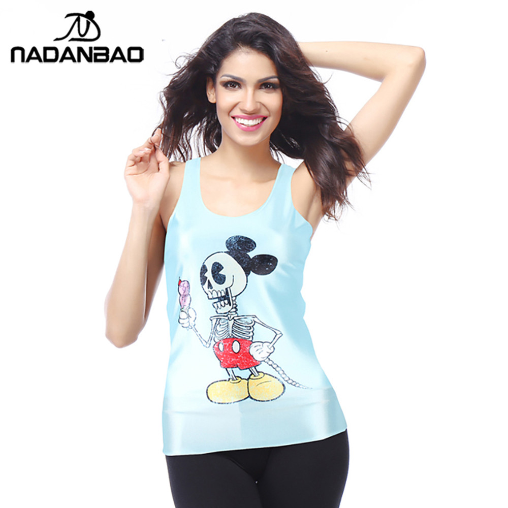 NADANBAO Summer <font><b>Cartoon</b></font> Tank Tops Women Special Price <font><b>3D</b></font> Print Cute Micky Rat Pink Sleeveless Top <font><b>Sexy</b></font> Backless Vest For Girl image