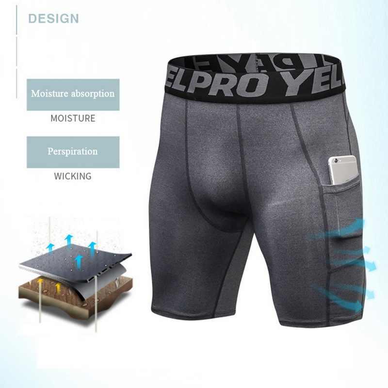 HEFLASHOR 真新しい男性スポーツジム圧縮電話ポケットの摩耗下の層ショートパンツ運動タイツショーツ底