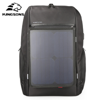 2018 new Kingsons Men Backpack 10W Solar Powered Usb Charging Anti Theft 15.6''/17 Laptop for Men Laptop Travel bag KS3140W I