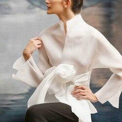 Vrouwen Zijde Shirts Ogen Lange Mouwen 2019 High-end Custom Strik Shirts voor Vrouwen Wit en Beige Blouse