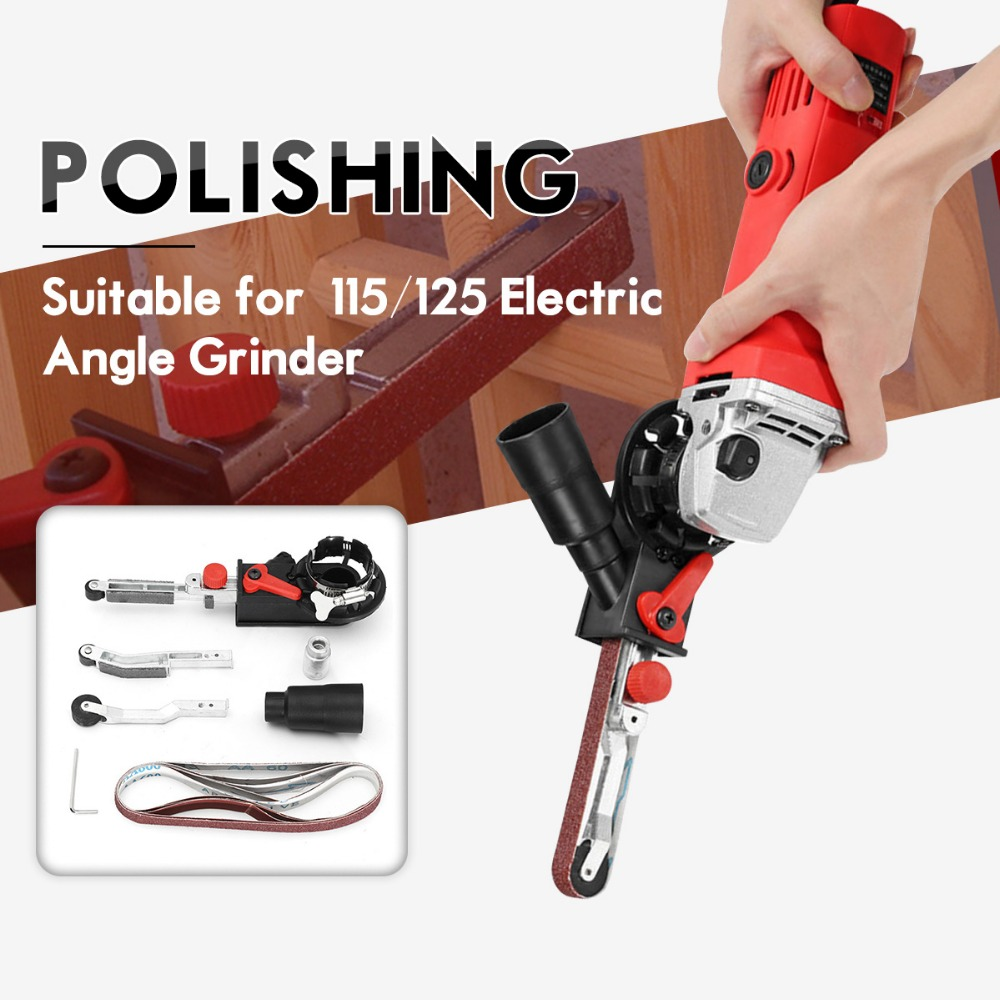 Newset DIY Schuurmachine Schuren Riem Adapter Voor 115/125 Elektrische Haakse Slijper met M14 Draad Spindel Voor houtbewerking Metaalbewerking