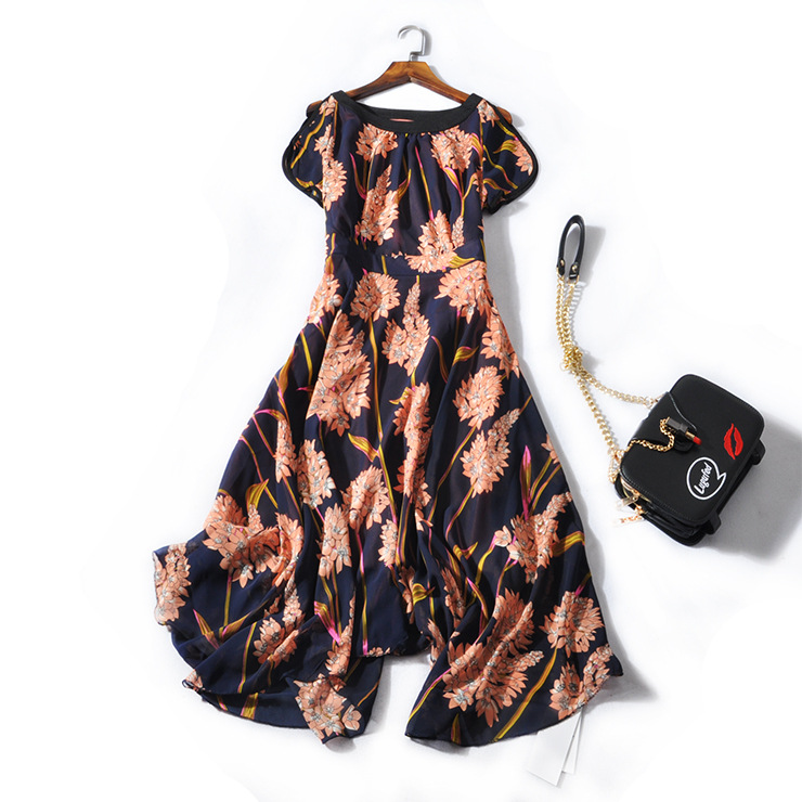 2018 Direct Selling Bud Solid Vestido Longo Vadim Dress Women New Printing Big Chiffon Dress Show Thin Waist Han Edition 6186