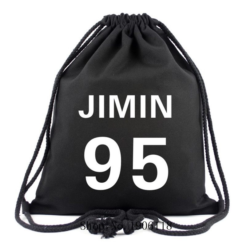 New Fashion Kpop BTS Bangtan Boys Canvas Drawstring For Women Men JIMIN 95 BTS Accessories Bags Fans Gifts 16 Colors Travel Bags