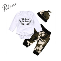 Pudcoco 0 24M Newborn Toddler Baby Boys Tops Romper Camouflage Pants Leggings Hat Outfits Long Sleeve