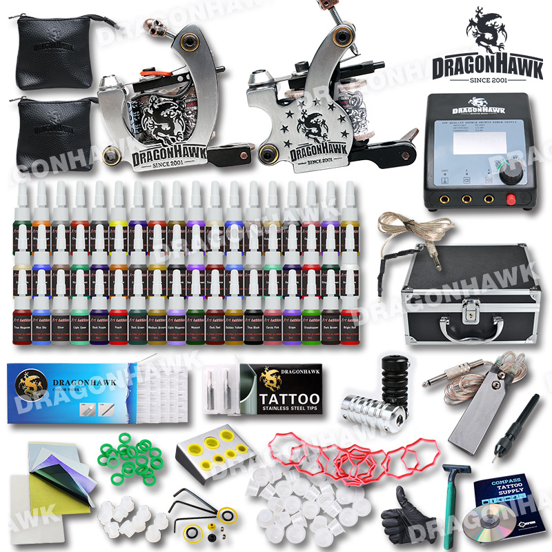 Complete Tattoo Kit  Professional   Machine 2 Guns  54 Inks  Needles grips tips  Tattoo Power Supply  pedal with case HW-2GD