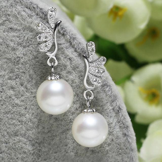 Do projeto do pavão brincos de pérolas de noiva, 8 mm de água doce pérola redonda Dangling brincos para o casamento