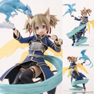 Sword Art Online Action Figure Collection 18cm ALO Cait Sith Silica Model Doll anime figma 289 sword art online ii kirito alo ver alover kirigaya kazuto pvc action figure collectible model toy 14cm kt2969