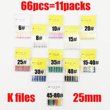 66pcs 6#-80# 25mm Dental K Files Root Canal Dentistry Endodontic Instruments Dentist Material Hand Use Stainless Steel