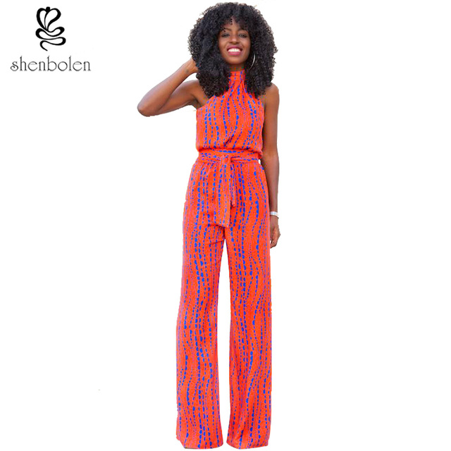 2016 summer African clothing dashiki batik print jumpsuits for women halter neckline sleeveless long pants pure cotton plus size