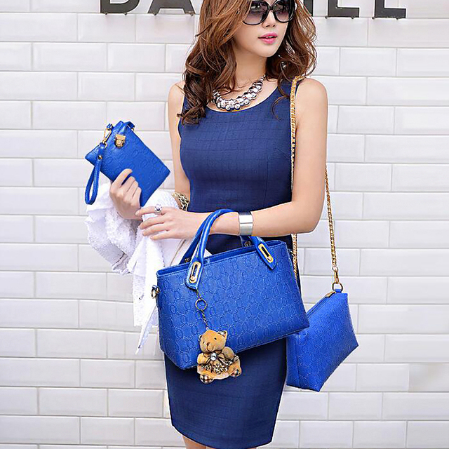 Yeetn.H Women 4 Set Handbags Pu Leather Fashion Designer Handbag Shoulder Bag Black Vintage Female Messenger Bag Sac A Main M129 5