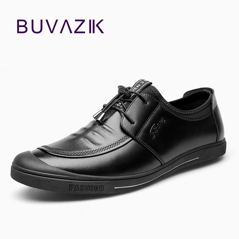 BUVAZIK genuine leather mens shoes high quality the first layer of cow leather casual shoes comfortable and soft loafers flats the new high quality imported green cowboy training cow matador thrilling backdrop of competitive entrance papeles