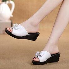 2016 rhinestone soft   platform sandals thick heel non-slip  women's slip-resistant genuine leather slippers women summer shoes