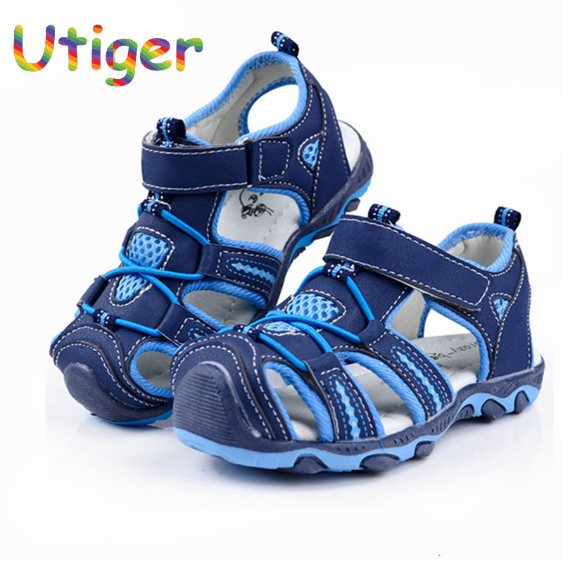 Summer Boy Beach Sandals Kids Shoes Closed Toe Sandals For Boys  Cut Out Non-Slip Breathable Flats Shoes Sandals for Children