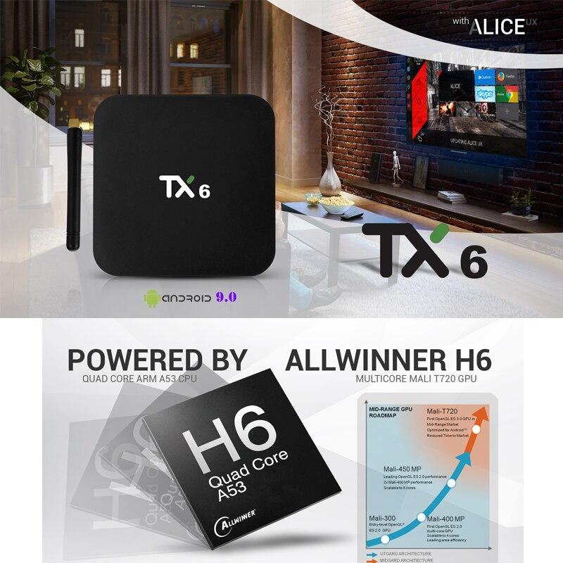 Wechip TX6 Intelligent Android 9.0 TV BOX 4G 32G Allwinner H6 Quad core 2.4G + 5G double Wifi BT 4.1 Set Top Box 4 K HD H.265 lecteur multimédia - 3