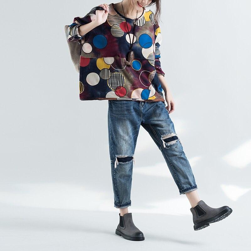 Grande De Dot Printemps Chemise Nouvelle shirt Coton T Gris Taille 2018 Femmes Polka rouge fwnr8BfqxX