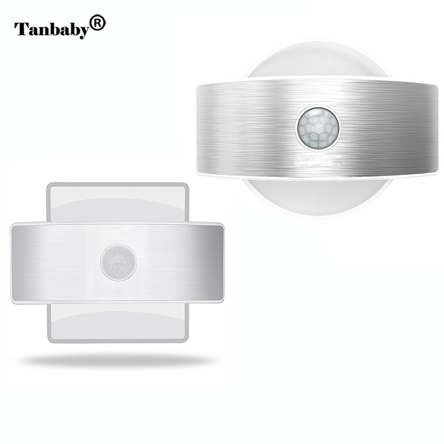 Tanbaby Wireless Bright Motion Sensor Wall Porch Light Battery Powered Night lamp Security Wall Sconce for Cabinet stair kitchen