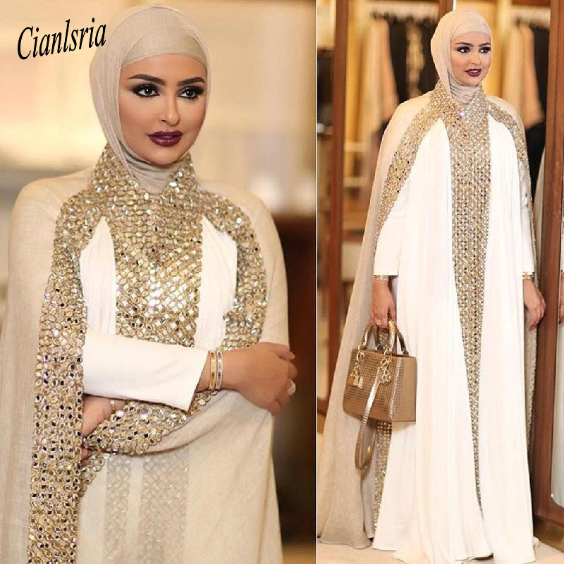 Champagne Dubai Kaftan Arabic Islamic Muslim Evening Dress Long Sleeve Beading Rhinestone Formal Evening Party Dresses Vestido