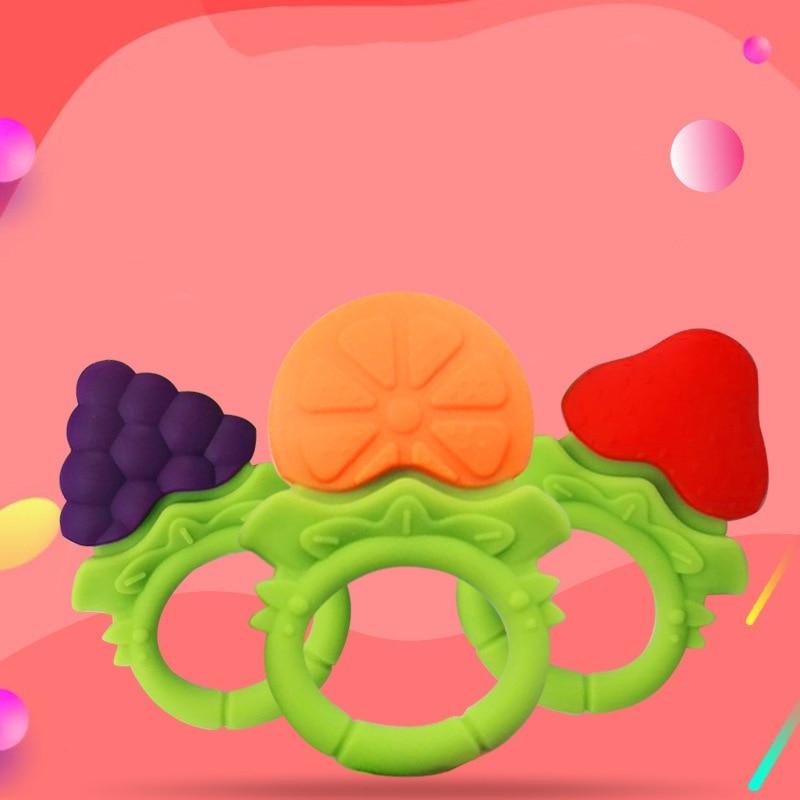 Jouets de dentition pour bébé nouveau-né jouets de dentition en Silicone souple sans BPA fruits Orange pêche avec attache-sucette