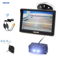 SMALUCK Wireless 5 Inch TFT LCD Display Car Monitor + Waterproof LED Parking Radar Sensor Car Rear View Camera 3 in 1