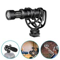 Neewer Universal Video Microphone with Shock Mount, Windscreen Foam Cap, Furry Windshield Compatible with Smartphones DSLR Camer