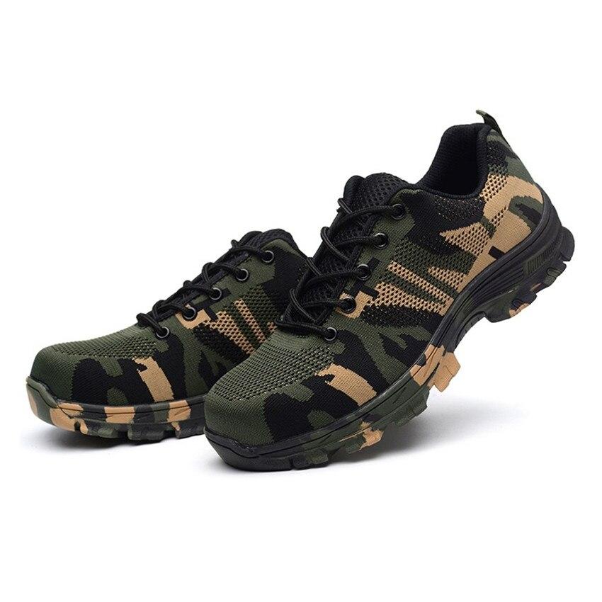Homme acier casquette orteil chaussures travail sécurité bottes Tradesman Camouflage chaussures anti-crevaison grande taille bottes