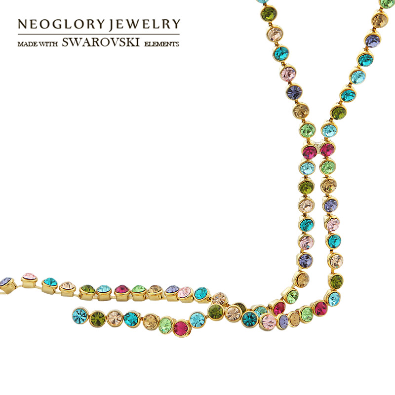 Neoglory Austria Rhinestone Colorful Charm Round Beads Long Chain Necklace For Women Trendy Party Dress Summer Classic Gift trendy letter heart round rhinestone bracelet for women