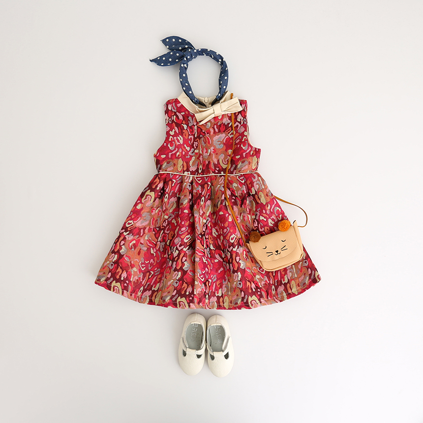 Sleeveless Children Bohemian Bow Clothing O-Neck Princess Party Dresses Baby Girls Autumn Flower Print Ruched Clothes 7pcs/LOT summer princess o neck embroidery bow clothes children girls crown print dresses wholesale sleeveless boutique clothing 5pcs lot