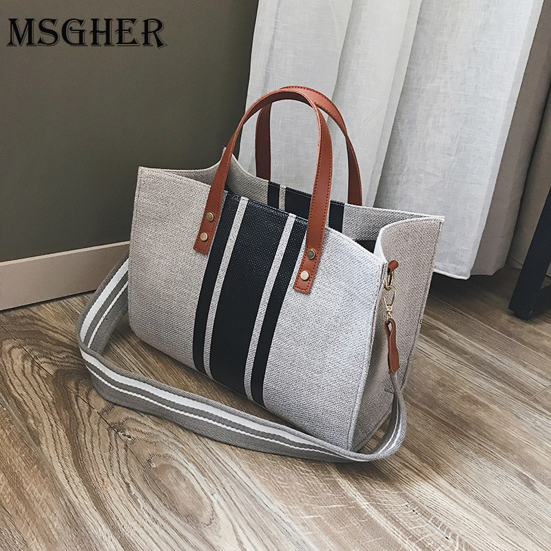 MSGHER Women Canvas Bags Famous Brands Handbag Casual Female Bag Trunk Tote Ladies Shoulder Bag Large Messenger Bag