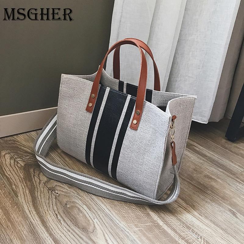 MSGHER Women Canvas Bags Famous Brands Handbag Casual Female Bag Trunk Tote Ladies Shoulder Bag Large Messenger Bag