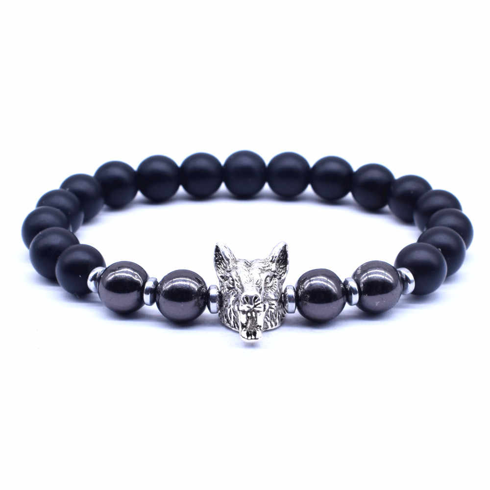 2019 New Fashion Men Jewelry Wolf head Charm Bracelet 8mm Black Stone With Hematite beads Bracelet for Men Armband Heren