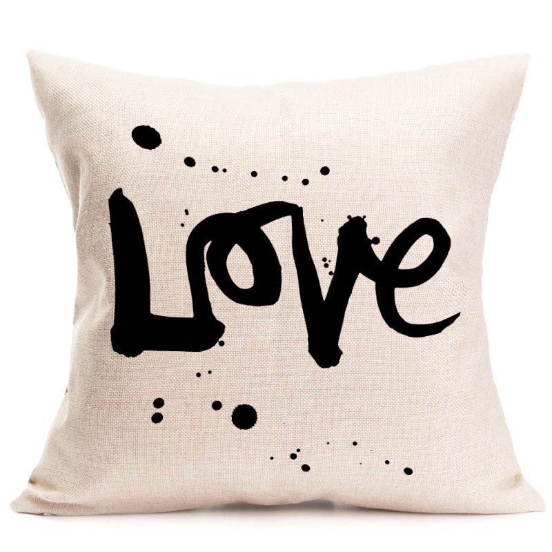 lettre d amour motif coussin couvre home sweet coton lin coussin couverture canape lit siege decor taie d oreiller almofada dans housse de coussin de maison