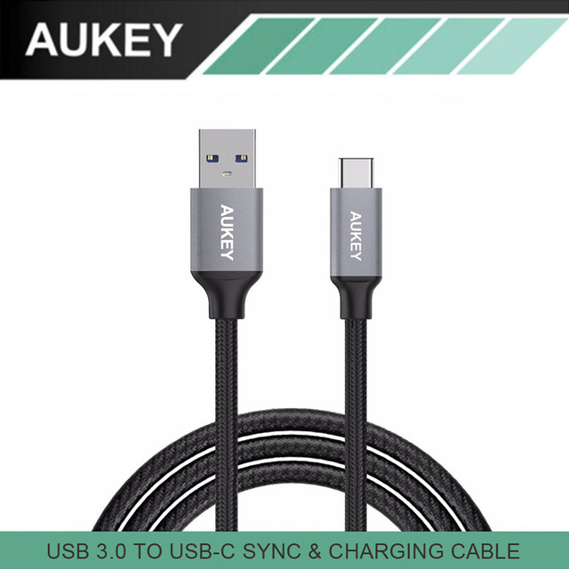 AUKEY Type C Cable USB 3.0 to USB C Hi-Speed Braided Fast Charge Data Transfer Cable for Macbook Samsung S8 Xiaomi mi5 mi6 LG G5