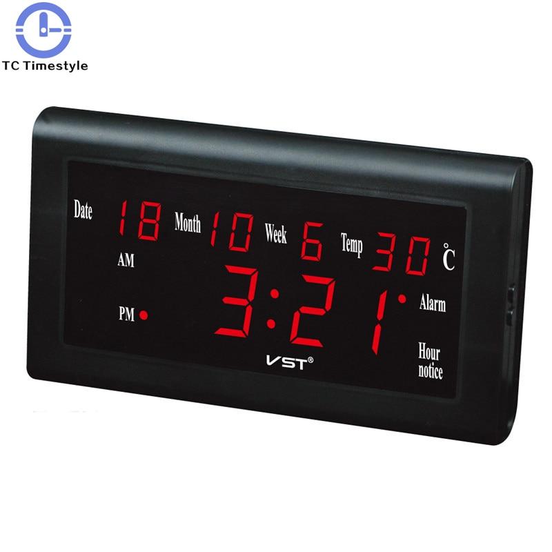 Modern LED Calendar Plastic Table Clock Digital LED Wall Clock Glowing Large Display Digital Desk Clocks Luminous Clock