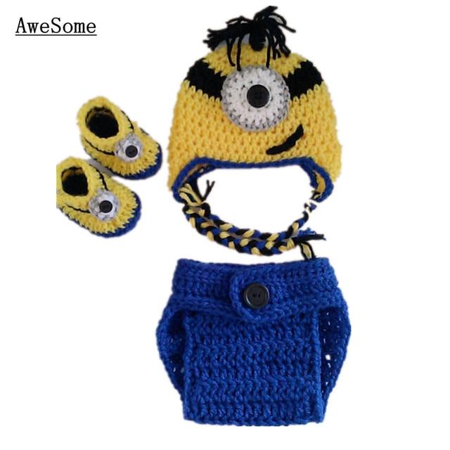 Minion Despicable Me Baby Costumehandmade Knit Crochet Baby Cartoon