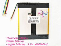 5 Thread 30120146 3 7V 6600MAH Lithium Polymer Battery MP3 MP4 Battery Recorder Rechargeable Batteries Tablet