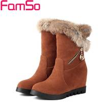Plus Size34-43 2016 new Sexy Women Boots Wedges High Heels Shoes black Spring Real Fur Boots Winter Women's Snow Boots SBT2622