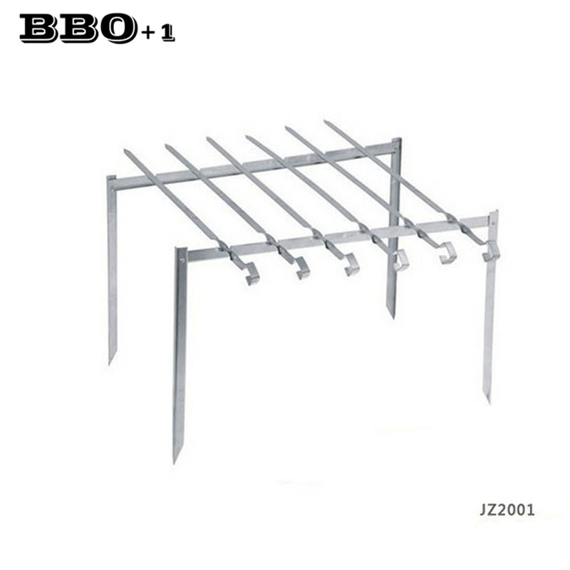 New Outdoor Beach Folding BBQ Barbecue Grill Rack w/ 6pcs