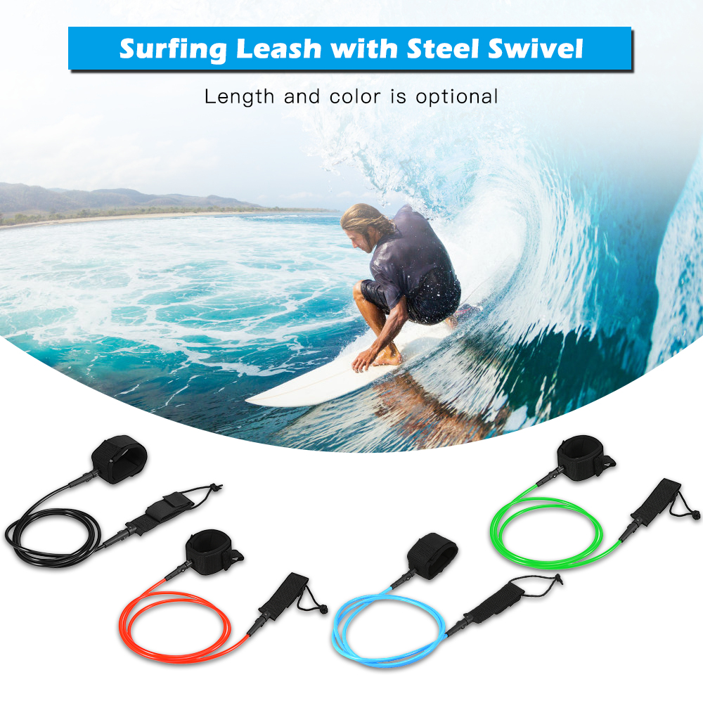 Surf Leash Surfboard Legrope Smooth Steel Swivel Surfing Leg Rope SUP PU Paddleboard Leash 6FT / 7FT Kayak Surfing accessories