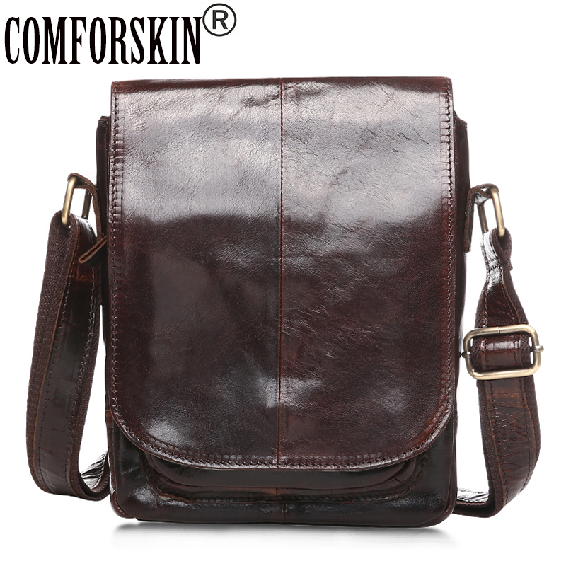 COMFORSKIN Brand Men Messenger Bags Premium 100% Genuine Leather European and American Retro Style Men Shoulder Bag 2018 Men Bag european and american fashion black leather zipper man bag design famous manberce brand male shoulder messenger bags