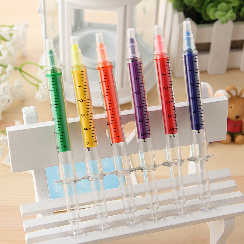 6Pcs/Pack New Novelty Nurse Needle Tubing Syringe Highlighter Marker Writer Pen Office S ...