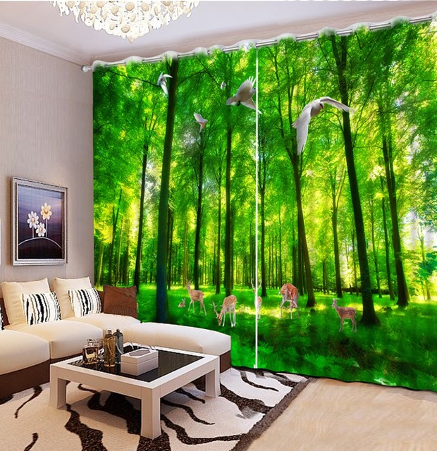 Three Rooms Apartment With A Big Modern Kitchen: 3D Curtain Forest Modern Fashion 3D Curtains Scenery For
