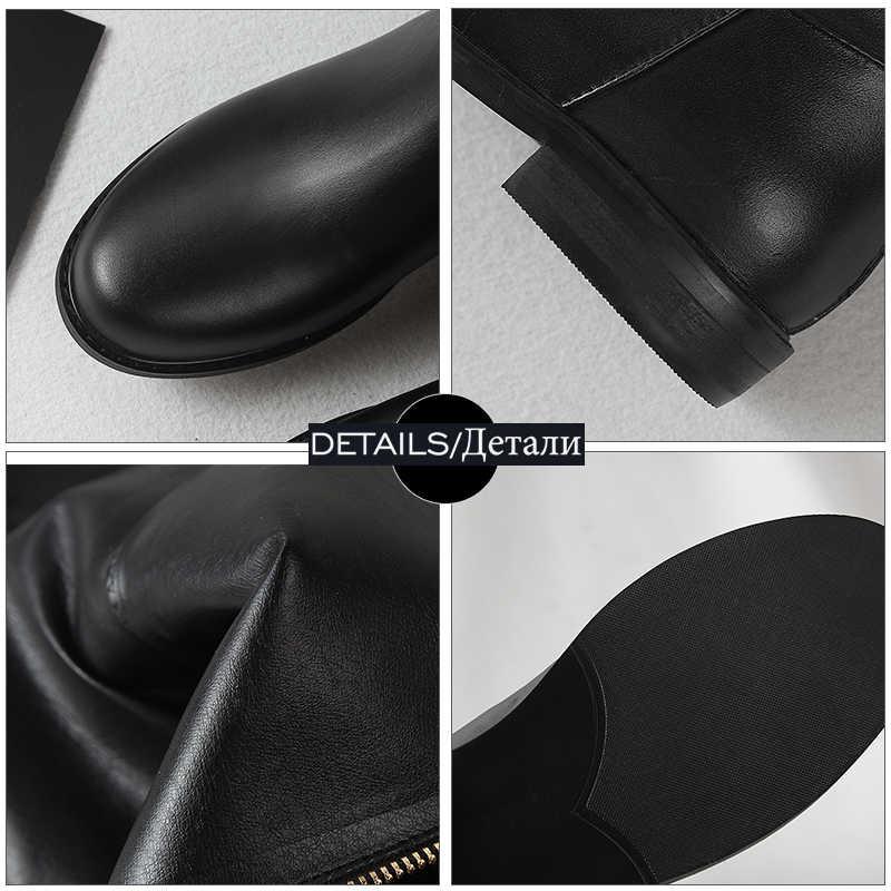 WETKISS Inek Deri Kadın Diz Yüksek Çizmeler Yuvarlak Ayak Zip Ayakkabı Düşük Topuklu Kadın Motosiklet Çizme Ayakkabı Kadın Kış 2019 yeni