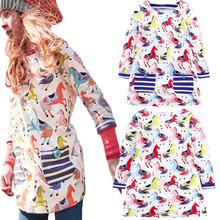 2019 Spring Summer Girls Dress Horse Print KidsLong Sleeve Party Dresses For Girls European Style Princess Dress