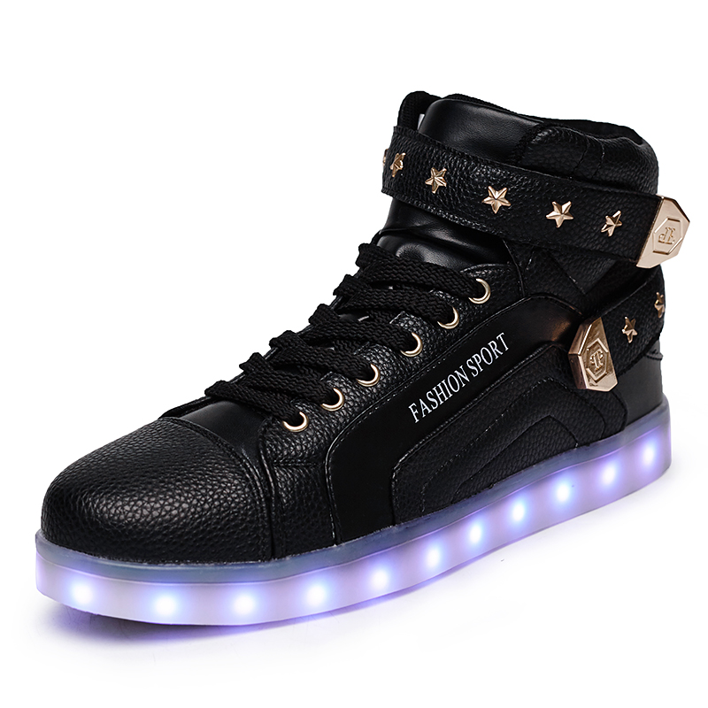 Fashion Casual Basket Femme Glowing Shoes LED Couples High Top Rivets Luminous Lighted Shoes Tenis Feminino