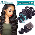Peruvian Virgin Hair with Closure Human Hair 3Bundles with 1 Lace Closure Unprocessed Human Hair Peruvian Body Wave with Closure