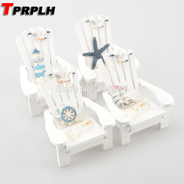 TPRPLH 4pcs/lot Wooden Mini Beach Chairs Mediterranean Style Wood Home  Decor Wooden Mini Beach
