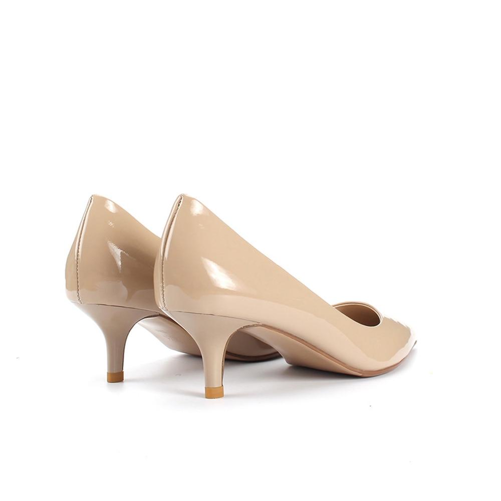 Haute qualité vin rouge complet en cuir verni 3 cm talon bas bout pointu bureau dames travail femmes chaussures Nude XJN07 MUYISEXI-in Escarpins femme from Chaussures    3