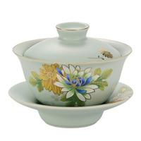 Ceramic bowl with lid, Gaiwan porcelain ,RuKlin Chinese Kongfu teacup Gaiwan, Ceramic teapot, chinese traditions Gaiwan set,