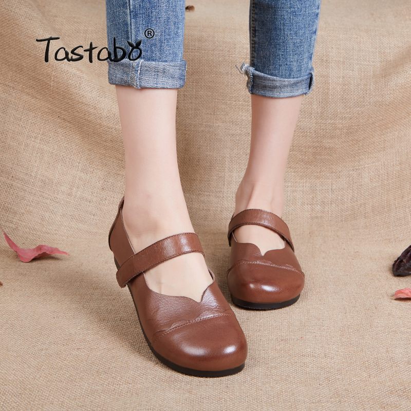 Tastabo Genuine Spring Leather Flat Shoe Driving Shoe Female Moccasins Fashion Women Flats Hand Sewing Shoes